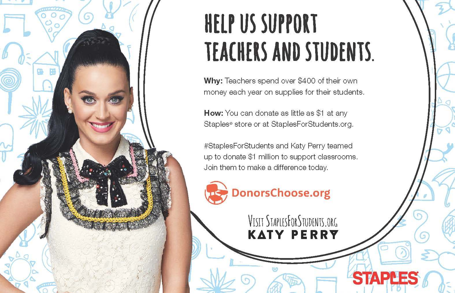 Katy Perry and Staples Team Up to Celebrate and Support Teachers Across America