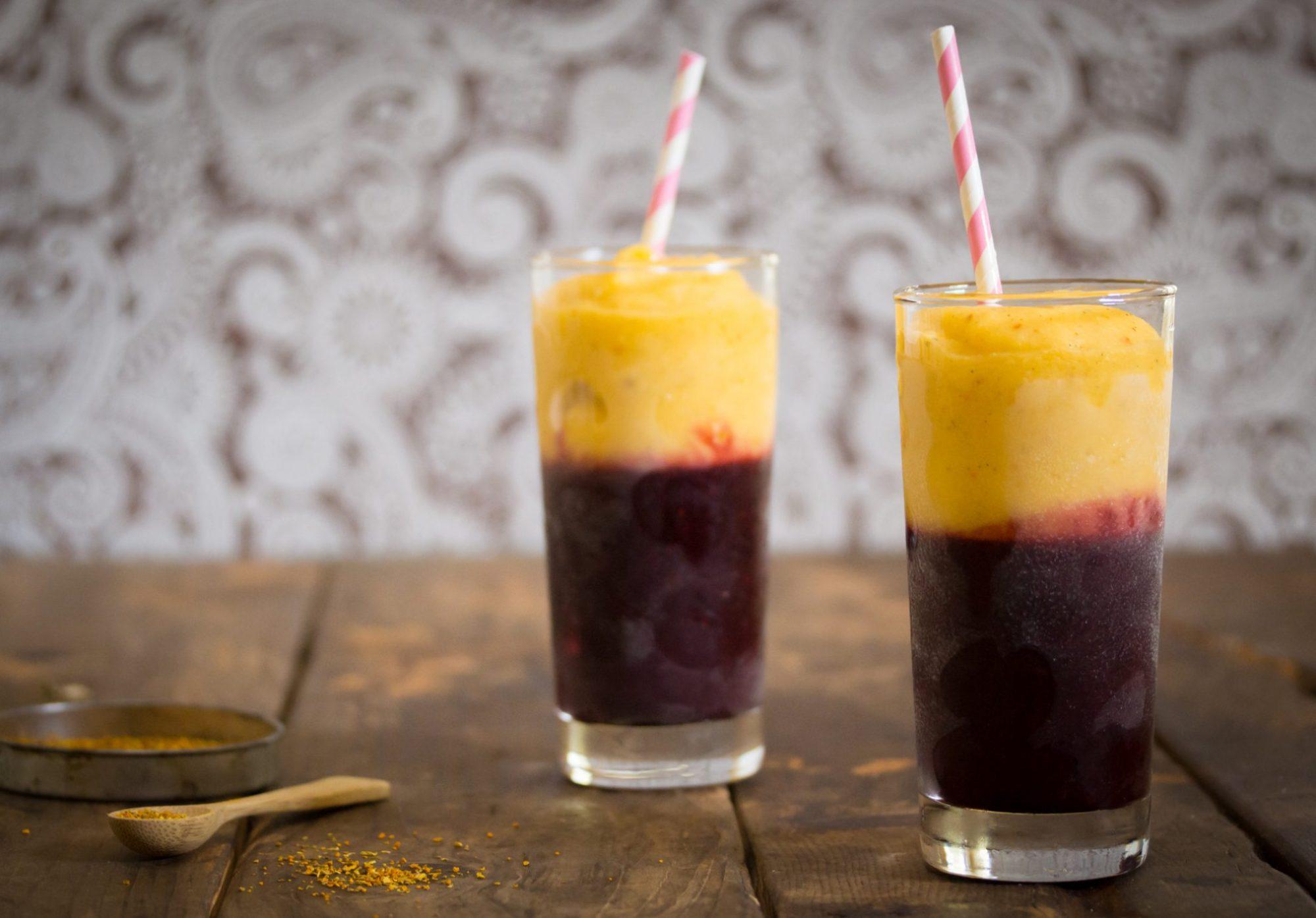 Berry & Mango Smoothie with Turmeric Tea Landscape