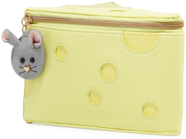 Betsey Johnson Cheeze-Shaped Faux-Leather Wristlet