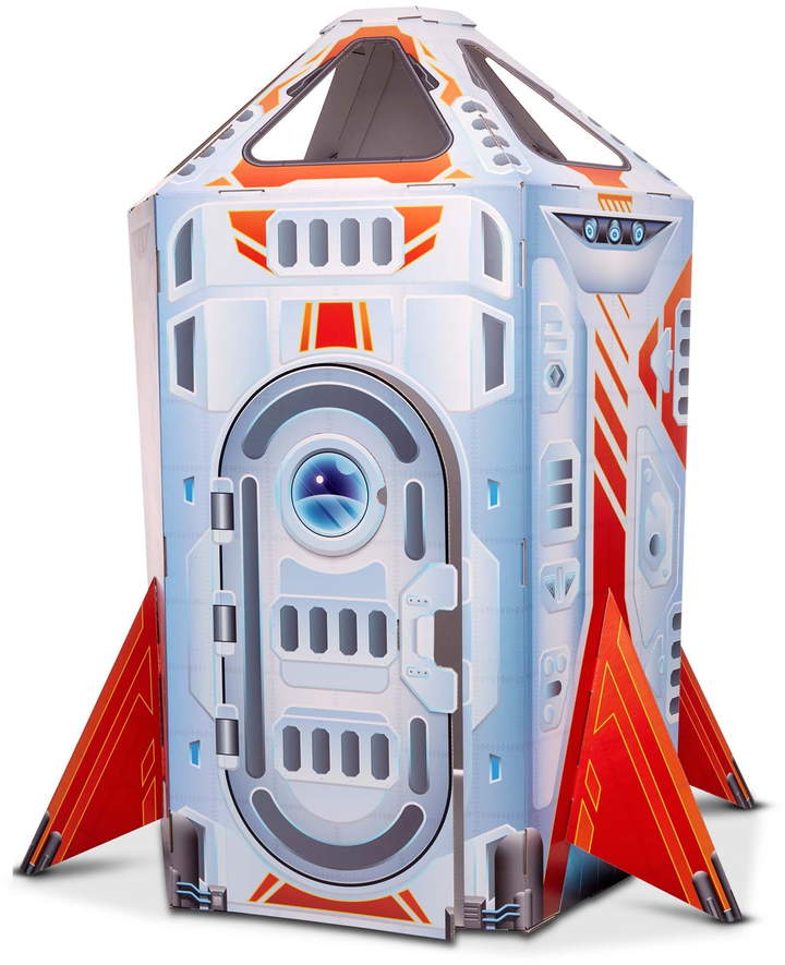 Spark creative play with this rocket-ship playhouse featuring a flap door, elaborate instrument panel and plenty of room inside for aspiring astronauts.