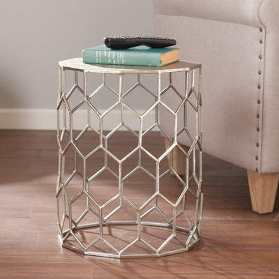 This Honeycomb wire frame dazzles from any angle--Peek a boo storage under table. And it is Versatile and goes anywhere