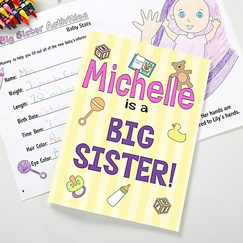 Your little one will enjoy preparing for their new baby sister or brother with our Big Sister/Brother Coloring Activity Book and Crayon Set. Choose from boy or girl designs; each featuring your child's name on the front cover.