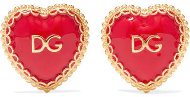 I love these Dolce and Gabanna Clip on earrings made in Italy from polished gold-tone brass and inlaid with red enamel and 'DG' lettering. I like how the delicate filigree can also be seen at the back - tie your hair up into a top knot to show it off.