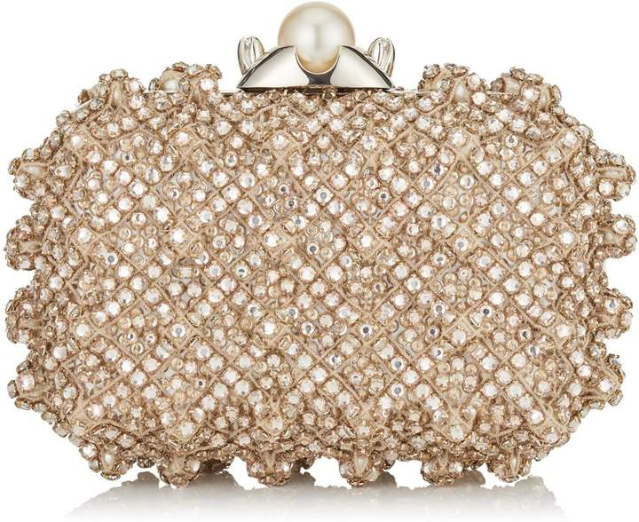 Jimmy Choo CLOUD Pearl Satin Clutch Bag with Crystal Bead Embroidery