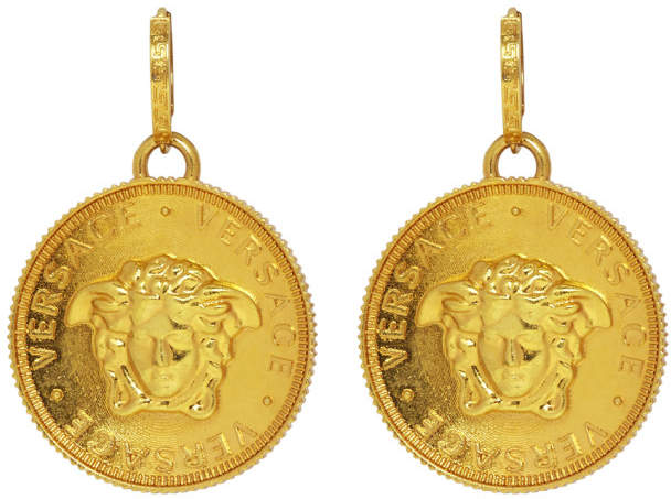Versace Gold Medusa Pendant Earrings