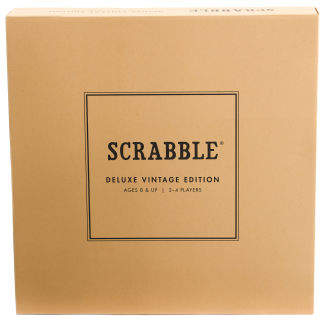 This Vintage Game of Scrabble is for 2-4 players, solid wood cabinet with rustic finish and built-in storage beneath game board, rotating game board with raised grid, natural wood tiles and stained wood tile racks, premium scorebook with pencil, timer, instructions,