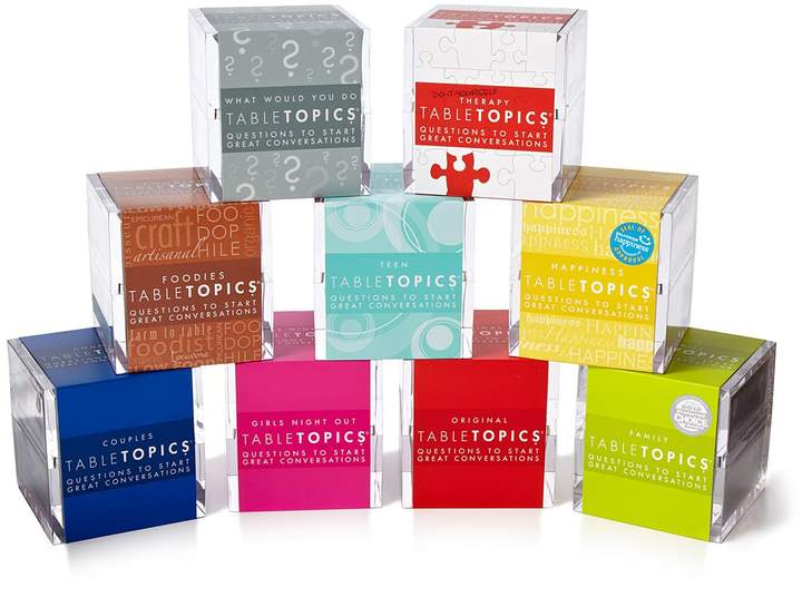 Each acrylic cube holds 135 conversation starters, Get Everyone Talking! Grab a Table Topics box and break the ice!