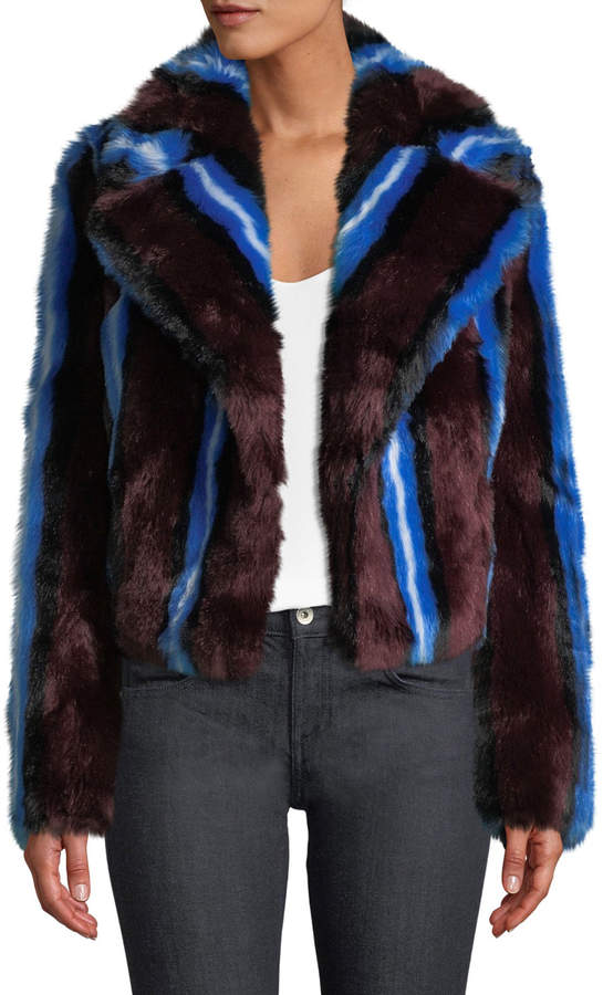 Long-Sleeve Collared Faux-Fur Jacket