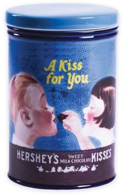 Store Hershey's milk chocolate candy in this retro-inspired Chocolate Lovers Kissing Kids Canister from Hershey's by Fitz and Floyd.