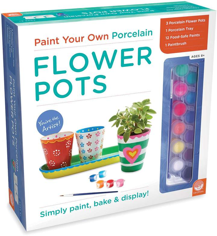 Express creativity and display plants at the same time with Paint Your Own Porcelain Flower Pots. This crafty kit includes 3 porcelain flower pots, 12 food-safe paints, 1 porcelain tray, and 1 paintbrush.