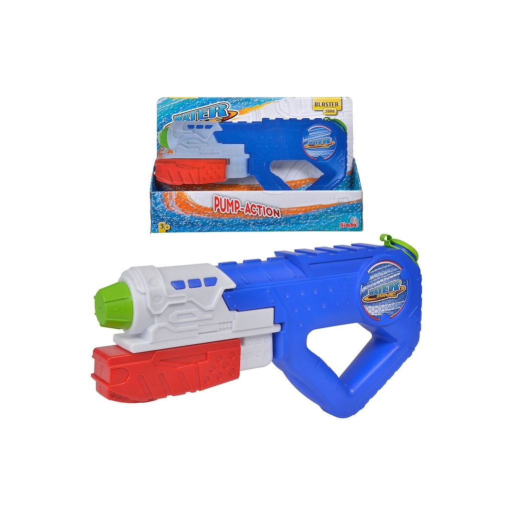 With the Simba Toys Waterzone Water Blaster 3000 you are ready for any water battle! The water gun has an efficient pumping mechanism to shoot water up to an impressive 26 feet. The 800ml water tank means less fill ups during your water battle.