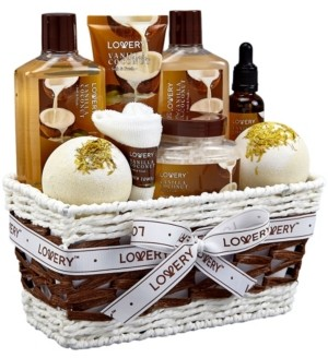 A gift basket for a day of pampering and relaxation, which is so good for your mind, body and spirit or for yourself to enjoy. Packed in a stunningly wrapped in a handmade basket. Lovery 9 Piece Vanilla Coconut Home Spa Body Care Gift Set