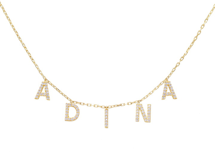 Dangling pave letters plated in 14-karat gold make this necklace a charming personalized gift for yourself or your trendy loved ones.