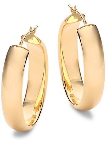 Saks Fifth Avenue Made In Italy 14K Yellow Gold Oval Hoop Earrings