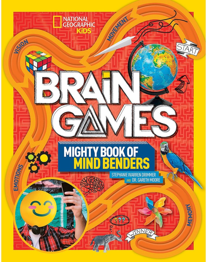 Chock-full of puzzles, optical illusions, cranial challenges, and information on the latest research in neuroscience, this awesome activity book helps you discover even more about your amazing brain! It's kid-friendly fun, based on the National Geographic hit television show Brain Games . Magic in the details Train your brain with all kinds of amazing new challenges that will unleash your creativity and bring out the genius within. You'll find crosswords, word searches, cryptograms, tough logic puzzles, memory tests, wacky riddles, and exercises to try with a friend. Time trials test your skills in each chapter. Write-in pages include puzzles and games as well as short explanations of the brain science at work. Tuning and proving your mental mettle has never been so much fun.