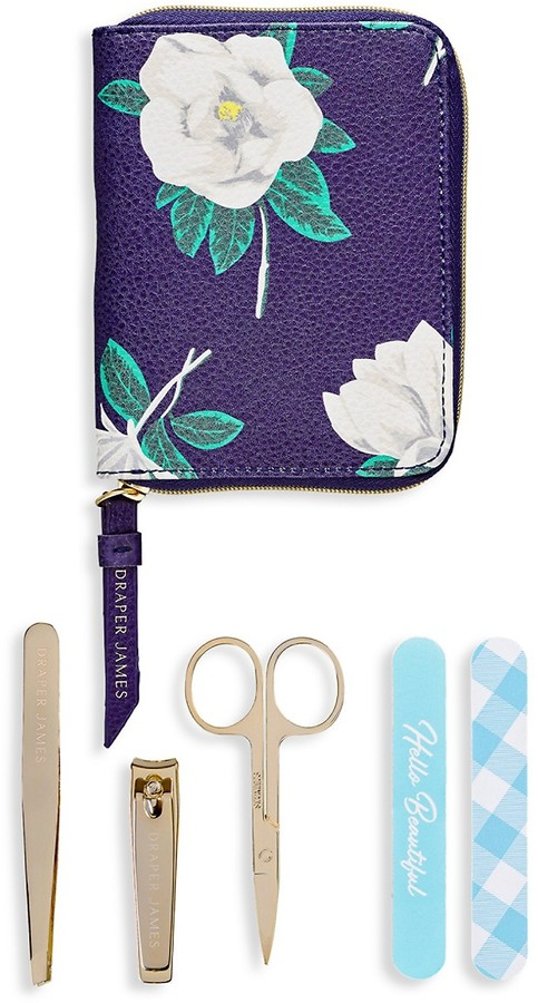 Draper James Magnolia 6-Piece Stainless Steel & Faux Leather Manicure Set