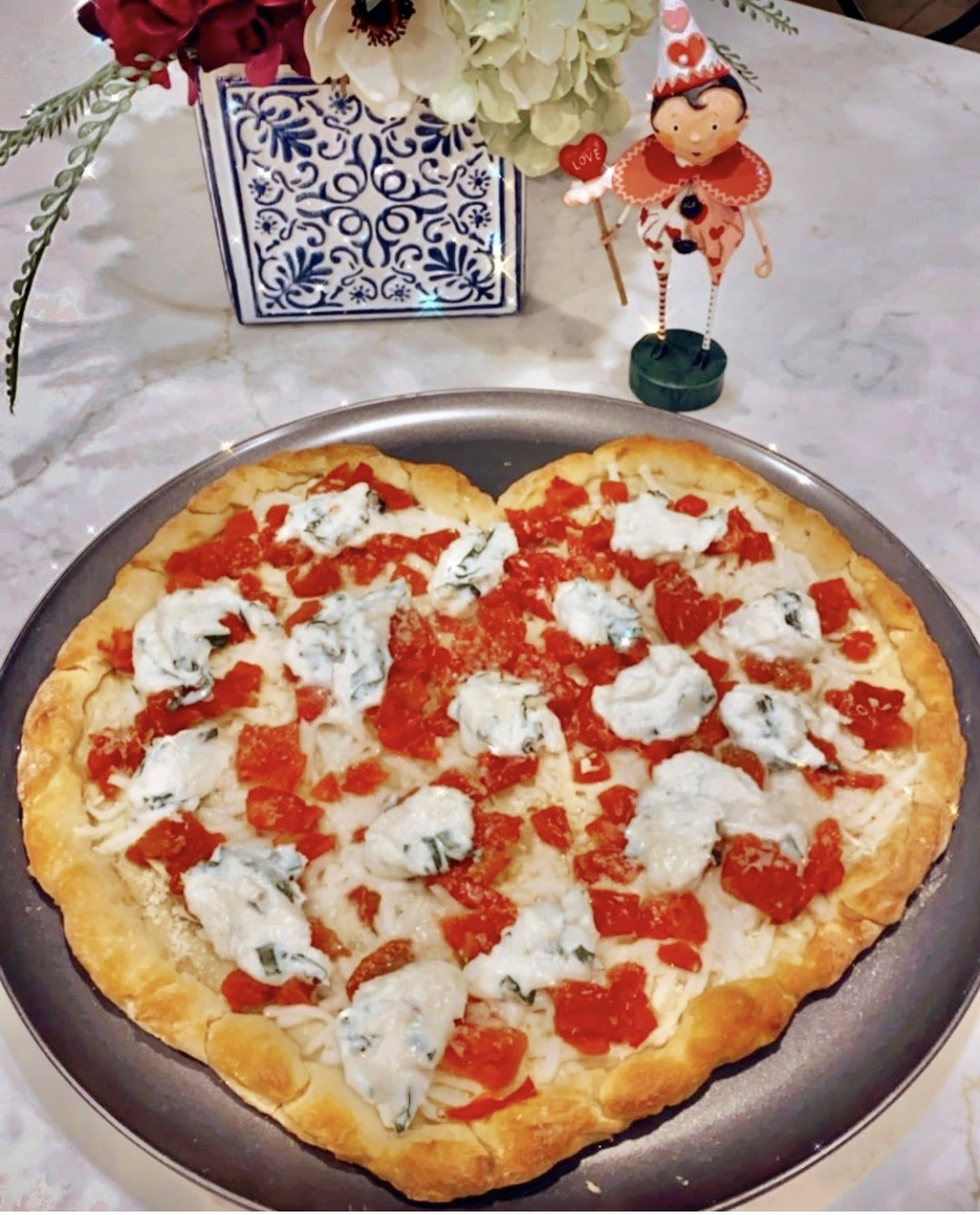 Ricotta and Tomato Heart Shaped Pizza - Each Slice is Four points on Weight Watchers Green