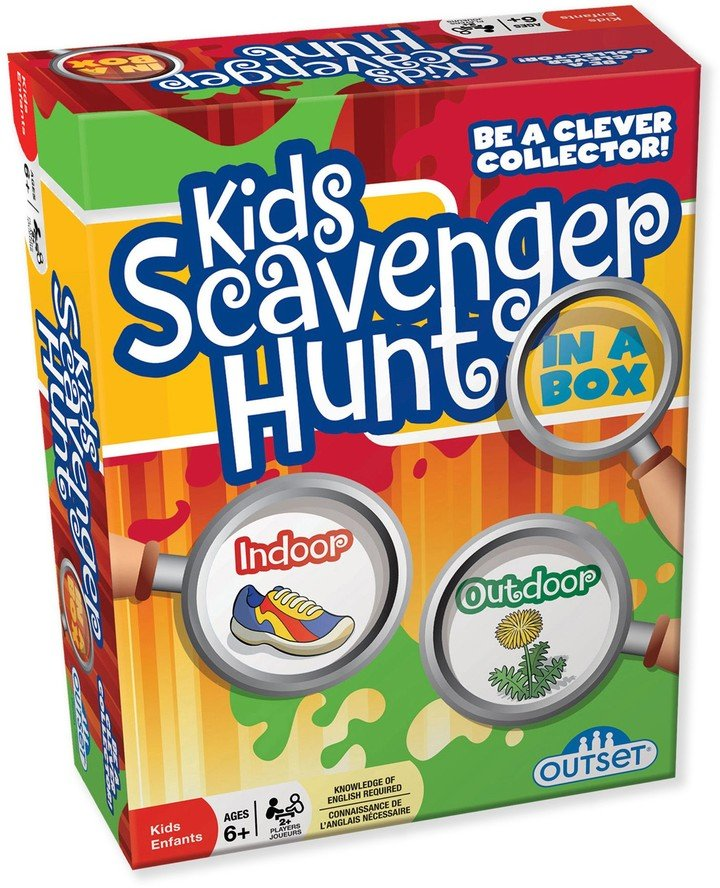 Come rain or shine, the Outset Media Scavenger Hunt In A Box Kids Game will delight your little ones. Kids will search for specific items both in and outside the home, and the first team to collect all items wins. Helps promote team work. Suitable for ages 6 and up Suitable for indoor/outdoor use Basic rules: Actively seek objects based on the cards in their hand First team to collect all the clues is crowned the winner
