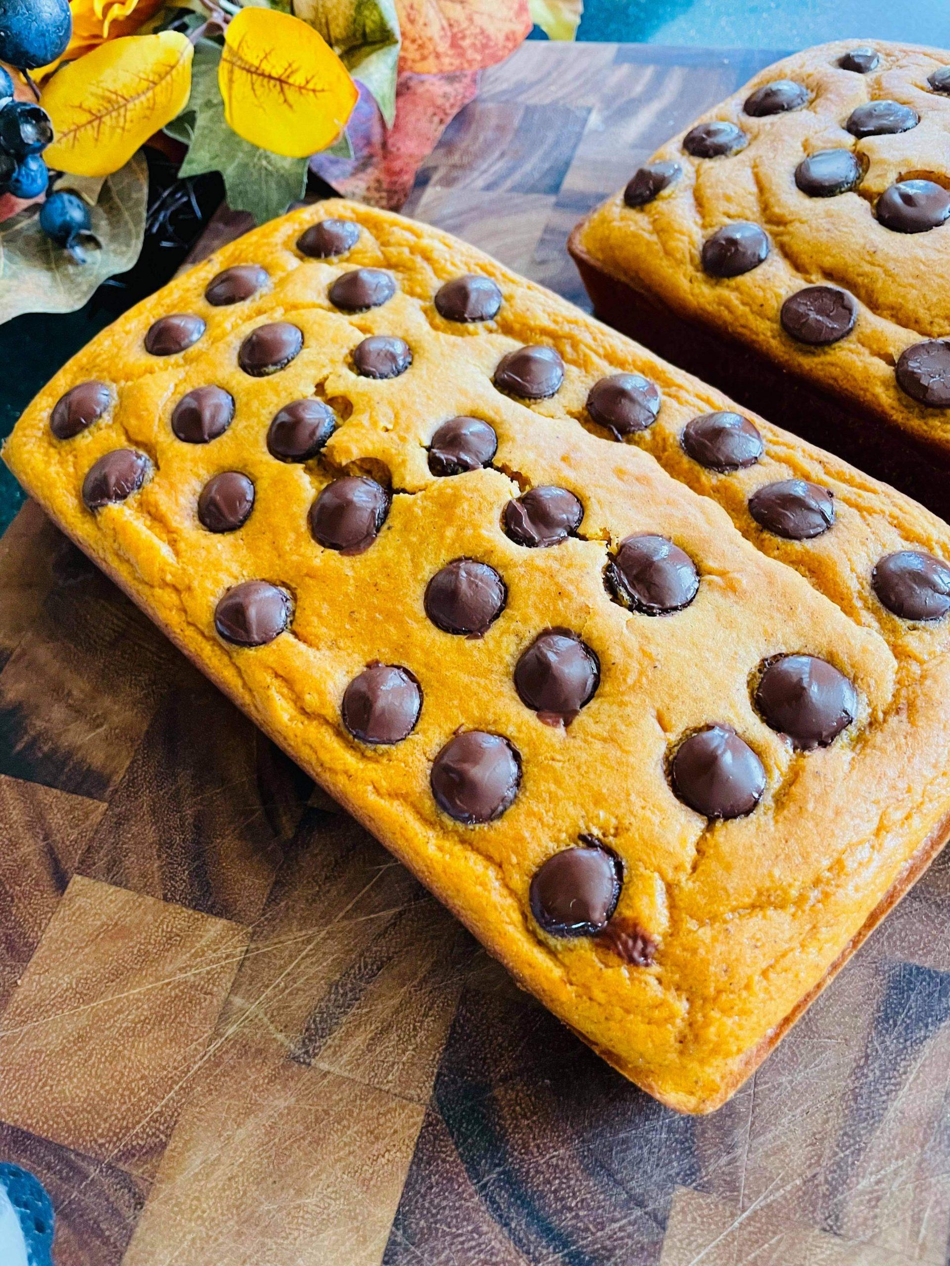 Chocolate Chip Pumpkin Loaf Cake