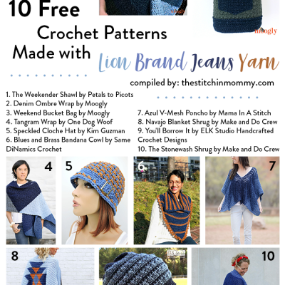 10 Free Crochet Patterns Made with Lion Brand Jeans Yarn