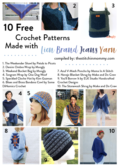 10 Free Crochet Patterns Made With Lion Brand Jeans Yarn The Stitchin Mommy