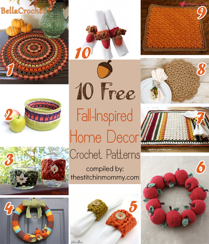 10 Free Fall-Inspired Home Decor Crochet Patterns compiled by The Stitchin' Mommy | www.thestitchinmommy.com