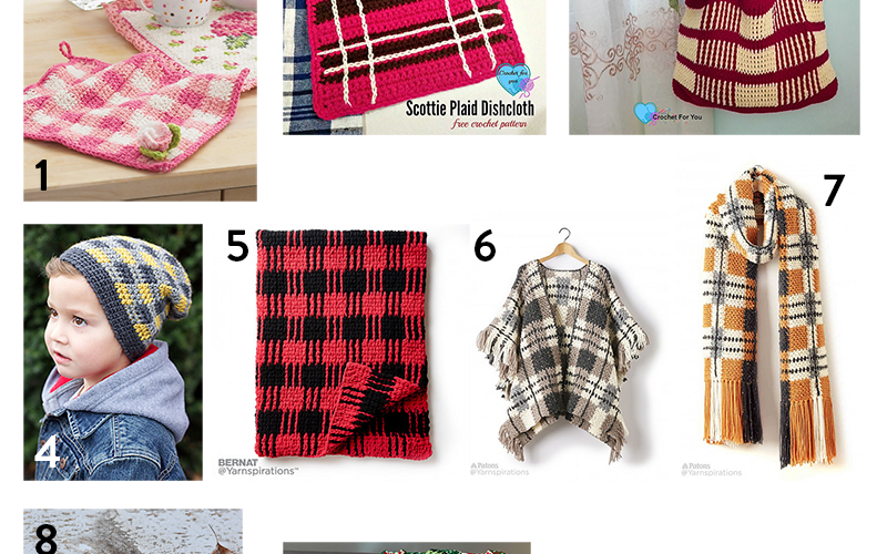 10 Free Patterns Crocheted in Plaid