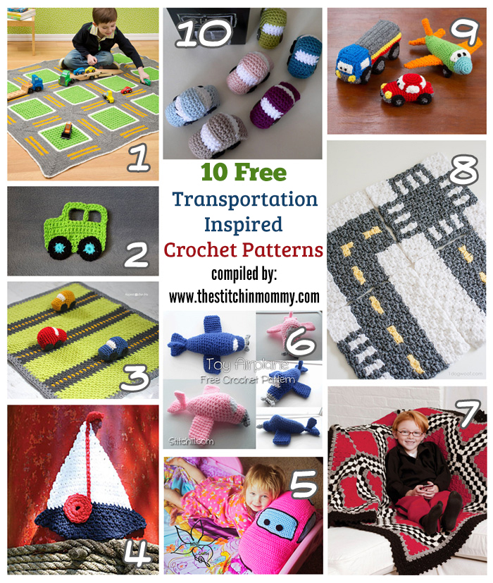 10 Free Transportation-Inspired Crochet Patterns compiled by The Stitchin' Mommy | www.thestitchinmommy.com