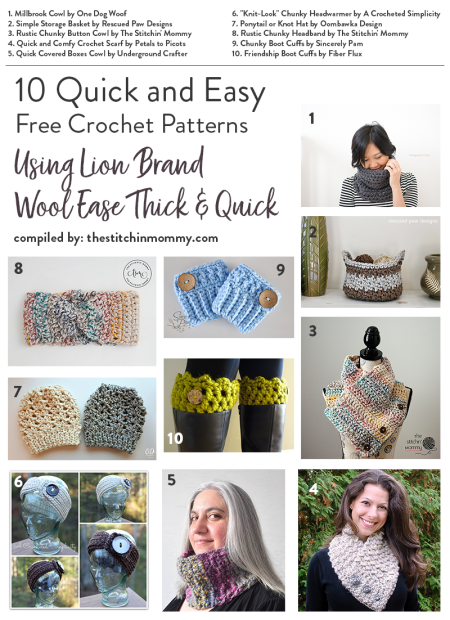 10 Quick And Easy Free Crochet Patterns Using Lion Brand Wool Ease Thick And Quick The Stitchin Mommy