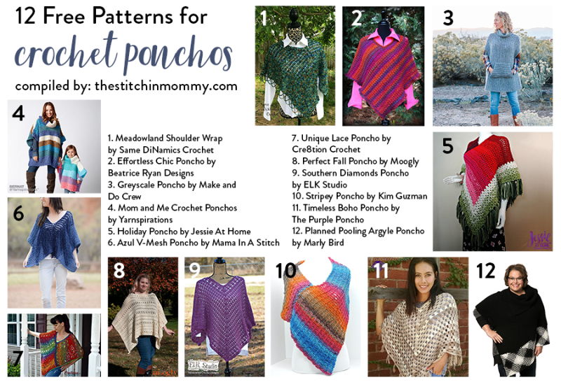 12 Free Patterns for Crochet Ponchos - The Stitchin Mommy