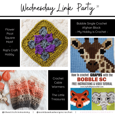 The Wednesday Link Party 381 featuring Picot Flower Square Motif