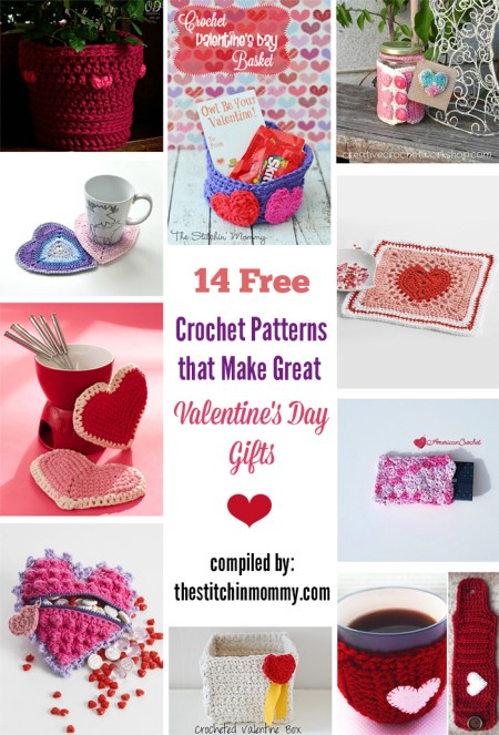 14 Free Crochet Patterns That Make Great Valentine's Day Gifts compiled by The Stitchin' Mommy | www.thestitchinmommy.com