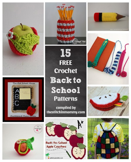 15 Free Back to School Crochet Patterns compiled by The Stitchin' Mommy | www.thestitchinmommy.com