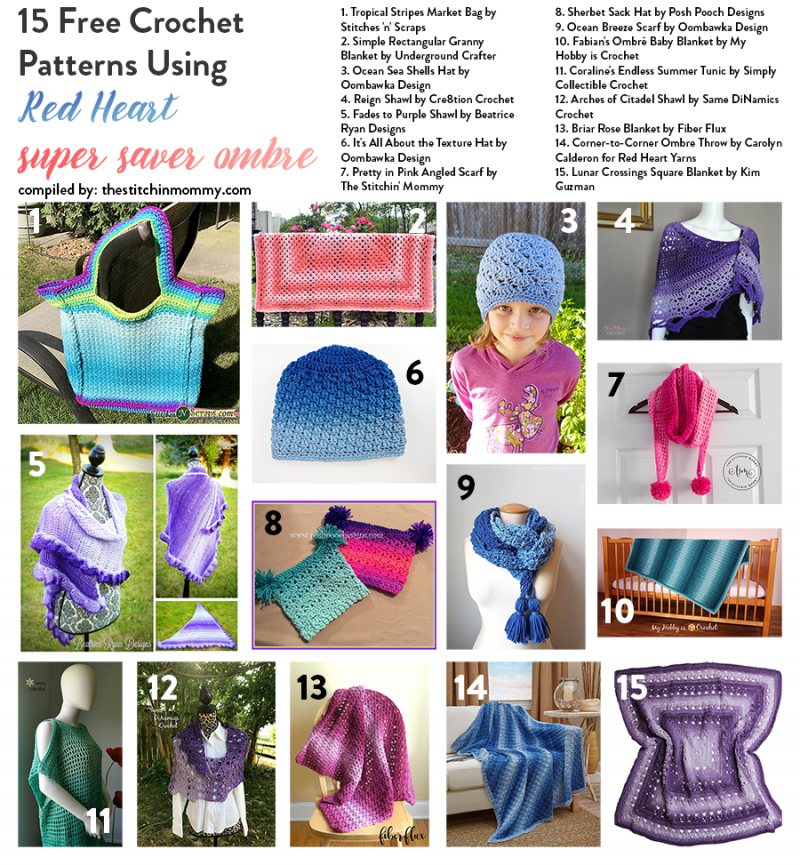 15 Free Crochet Patterns Using Red Heart Super Saver Ombre The