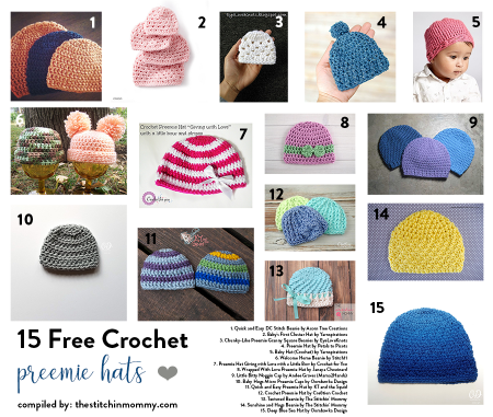 15 Free Crochet Preemie Hat Patterns compiled by The Stitchin' Mommy | www.thestitchinmommy.com