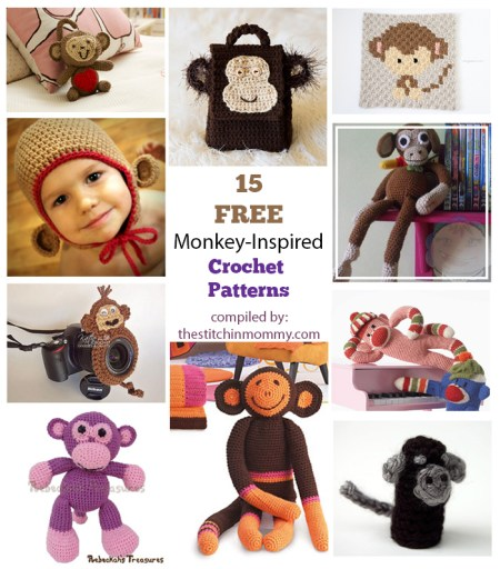 15 Free Adorable Monkey-Inspired Crochet Patterns compiled by The Stitchin' Mommy | www.thestitchinmommy.com