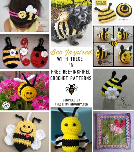 16 Free Bee-Inspired Crochet Patterns compiled by The Stitchin' Mommy | www.thestitchinmommy.com