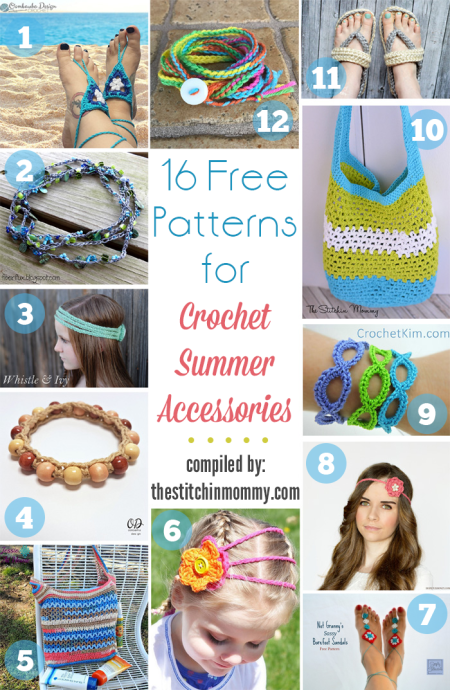 16 Free Patterns for Crochet Summer Accessories compiled by The Stitchin' Mommy | www.thestitchinmommy.com