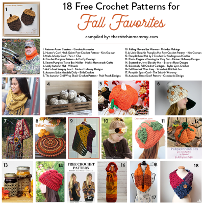 18 Free Crochet Patterns for Fall Favorites