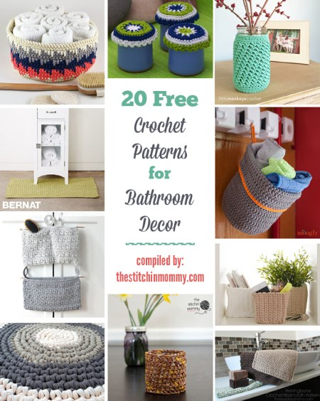 20 Free Crochet Patterns for Bathroom Decor compiled by The Stitchin' Mommy | www.thestitchinmommy.com