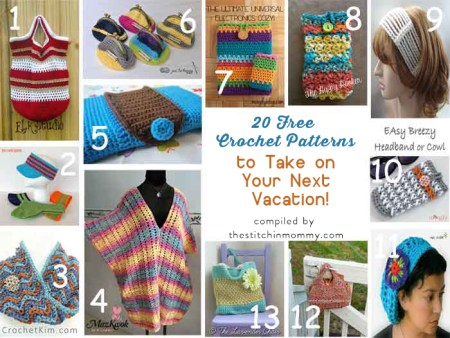 20 Free Crochet Patterns to Take on Your Next Vacation compiled by The Stitchin' Mommy   www.thestitchinmommy.com