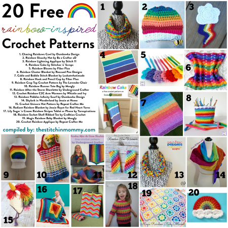 20 Free Rainbow-Inspired Crochet Patterns compiled by The Stitchin' Mommy | www.thestitchinmommy.com