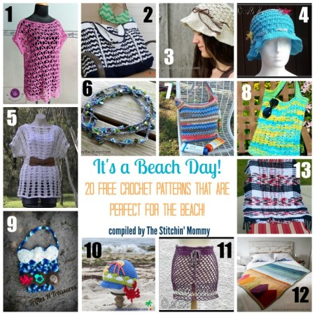 It's a Beach Day! 20 Free Crochet Patterns That Are Perfect for the Beach compiled by The Stitchin' Mommy   www.thestitchinmommy.com