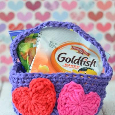 Easy Crochet Valentine's Day Basket