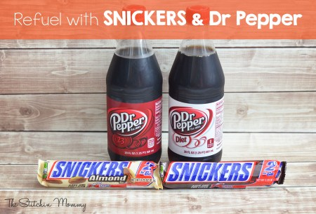 Refuel with Snickers and Dr Pepper www.thestitchinmommy.com