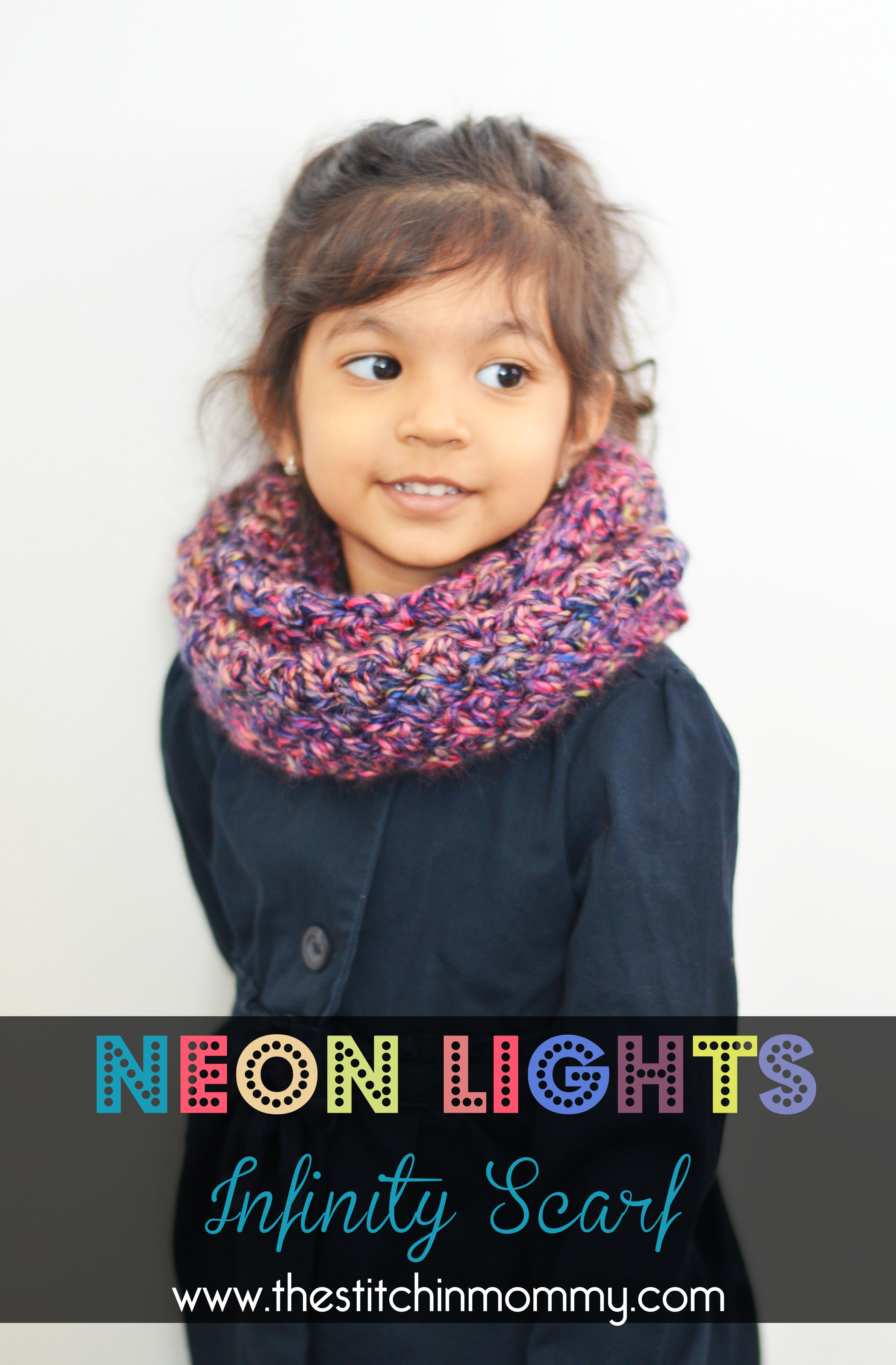 Neon lights infinity scarf for girls the stitchin mommy neon lights infinity scarf for girls thestitchinmommy redheart medley dt1010fo