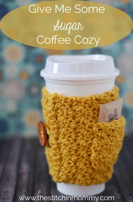 Give Me Some Sugar Coffee Cozy www.thestitchinmommy.com #crochet #coffee #cozy #fall #sugar #pocket