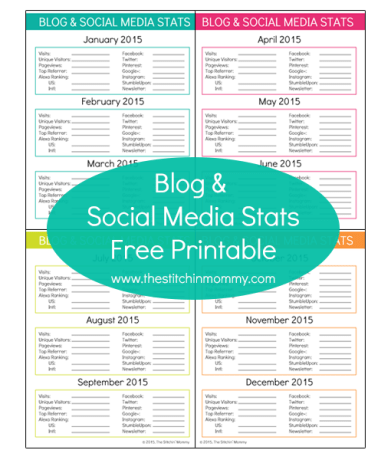 Blog and Social Media Stats Printable