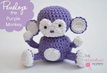 Penelope the Purple Monkey - Free Pattern www.thestitchinmommy.com