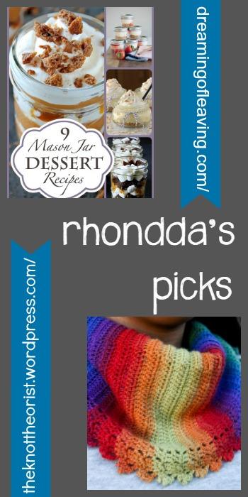 Rhondda's Picks | Nine Mason Jar Dessert Recipes/Chroma Crescent  - Tuesday PIN-spiration Link Party